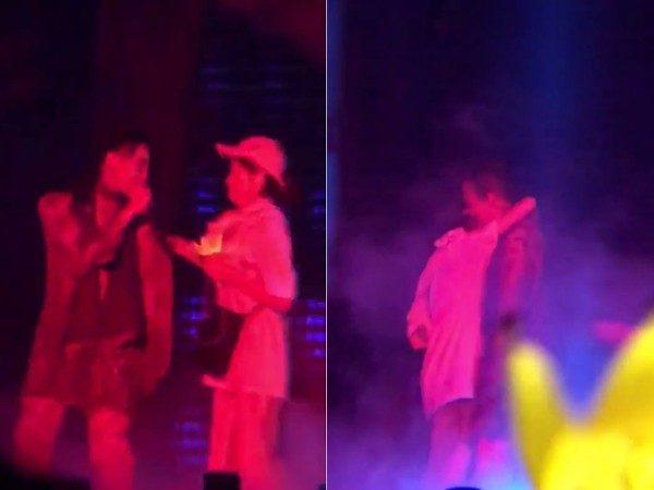GD演唱會遭女粉「亂入強抱」!勾脖子跳豔舞不放手「GD超專業臨場反應」網讚爆!(影片)