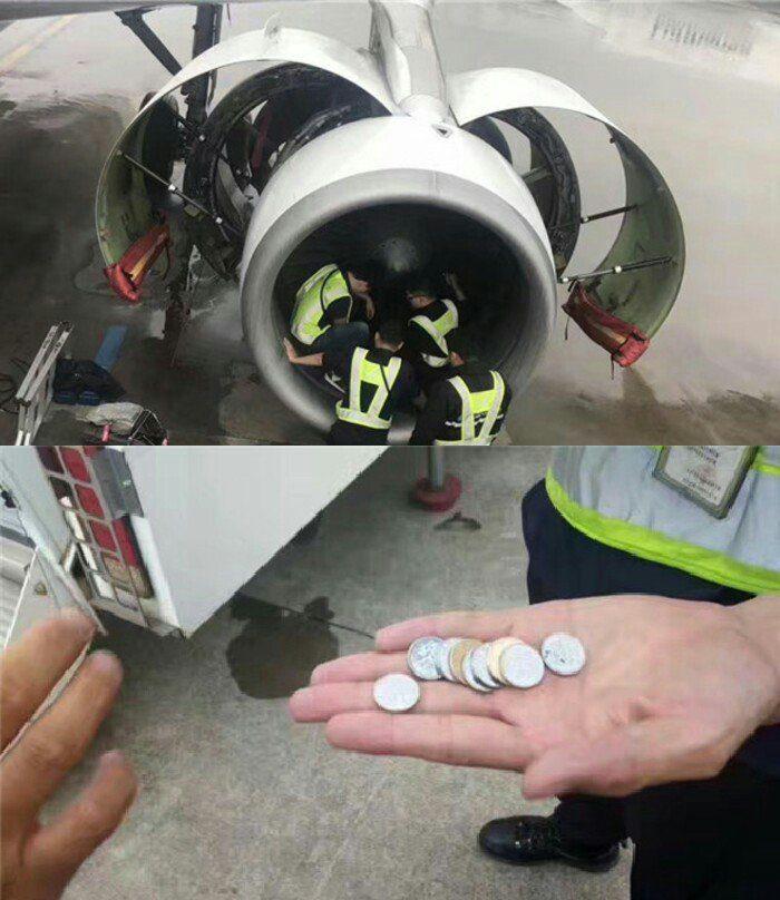80歲中國老婦為祈求飛行平安,「把硬幣丟進飛機引擎裡」差點害死所有乘客...