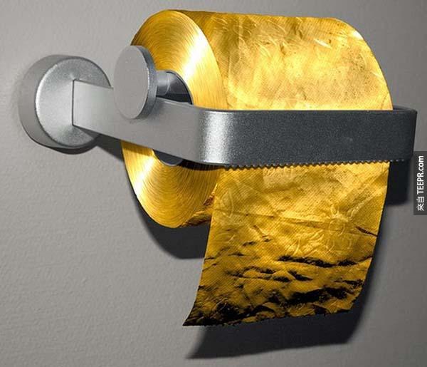 廁紙: 4000萬元台比的 3-ply 22克拉的黃金廁紙
