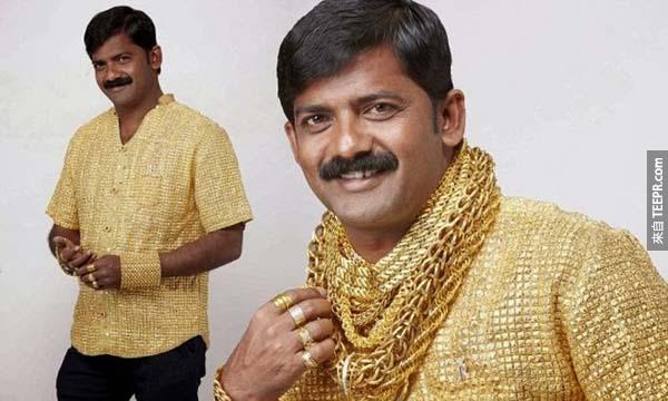 黃金衣: $750萬的黃金摟衣...真的是金光閃閃阿!(看起來真的好像寶萊塢裡的服裝...大叔接下來應該要跳舞了吧?)