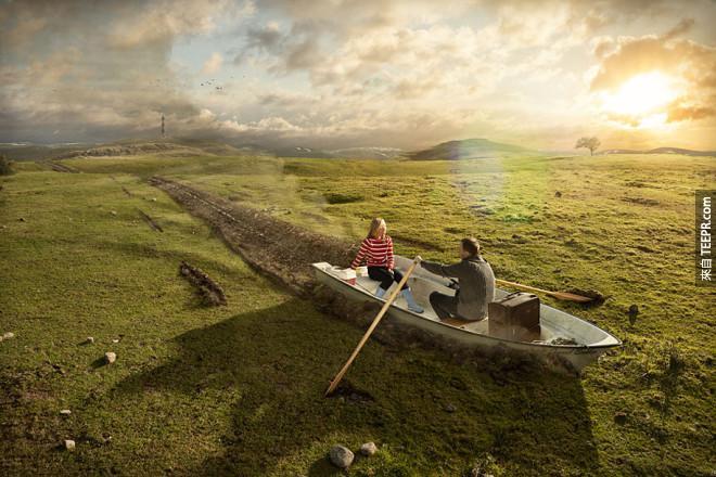 這週末天氣不錯,我們去山理划船吧!