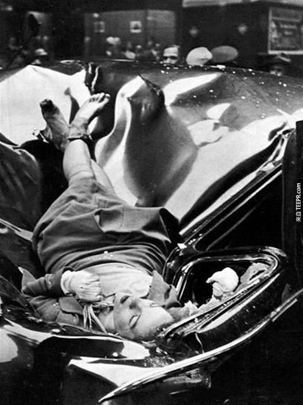一宗美麗的自殺案 - 23歲的Evelyn McHale  從帝國大廈的83樓跳下,墜落在一台聯合國的車上。