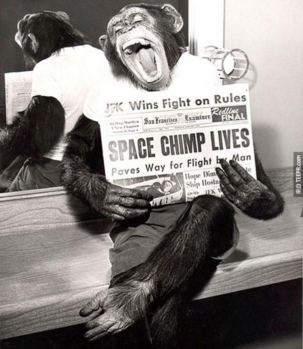 一隻大空猴子在去完一趟外太空回來後的勝利姿態 - 1961