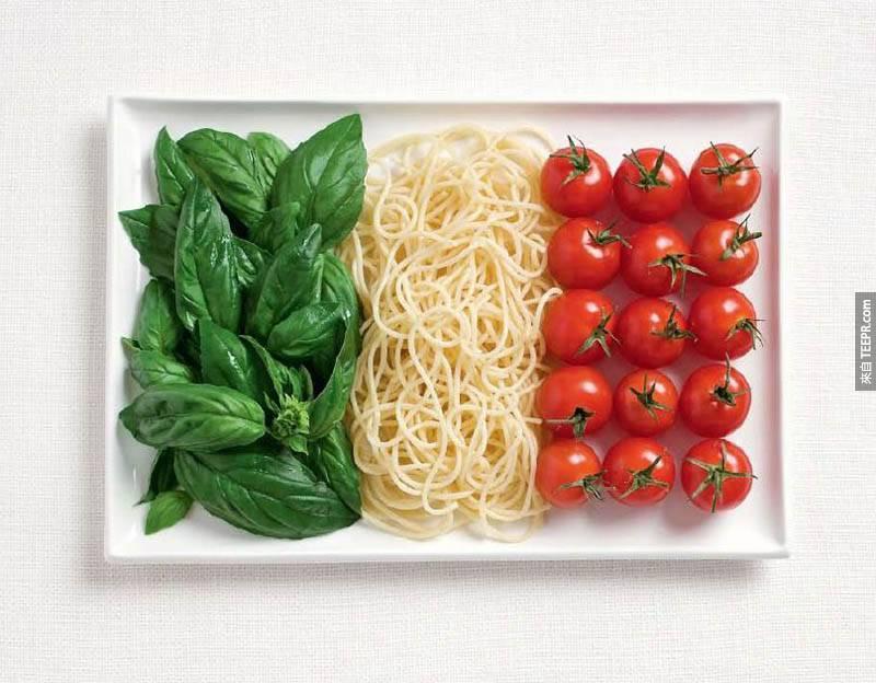 義大利 - 羅勒葉、義大利麵條、番茄