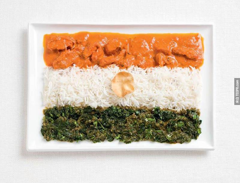 印度 - 咖哩雞、飯、cheera thoran、papadum wafer