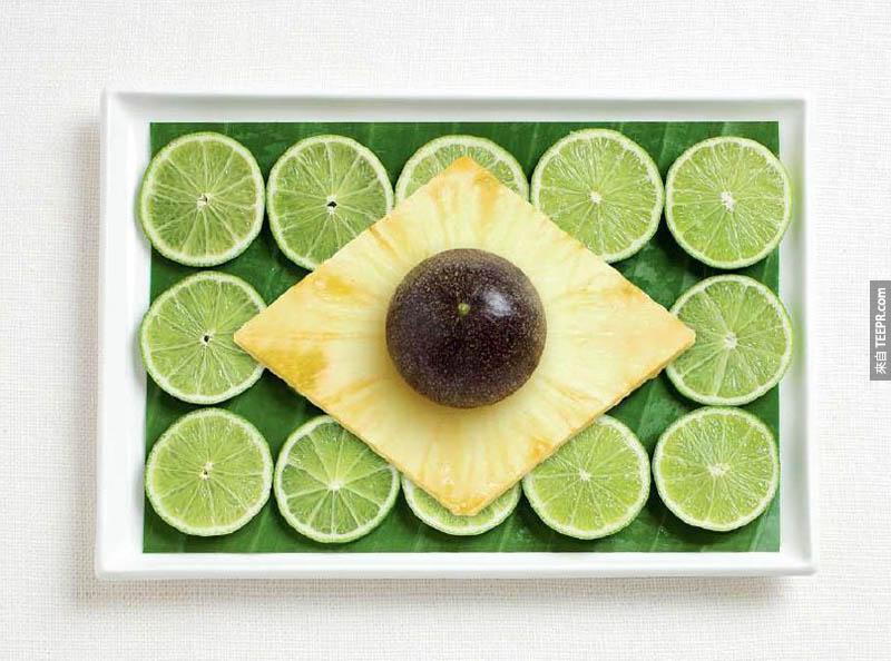 巴西 - 香蕉葉、萊姆,、鳳梨、百香果