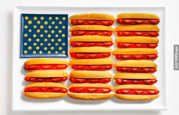 美國 - 熱狗、番茄醬、芥末