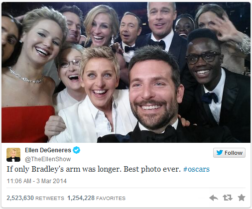 這就是所有人都在討論的話題。2014奧斯卡破紀錄的自拍照。