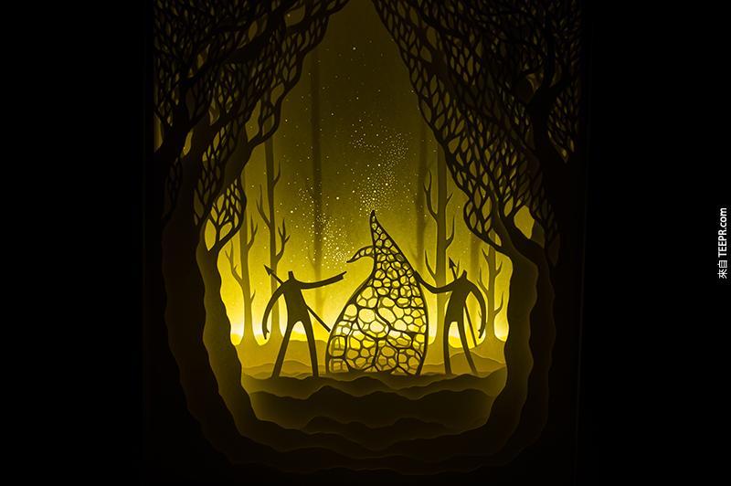 這是我一輩子看過最有趣的剪紙燈箱藝術。你一定要看看!