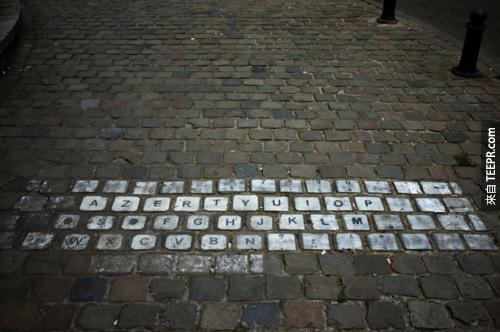 2. Keyboard made from bricks in Brussels, Belgium.