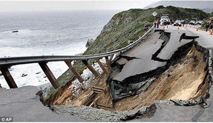 2)坍方摧毀了1號公路,2011(美國加州)