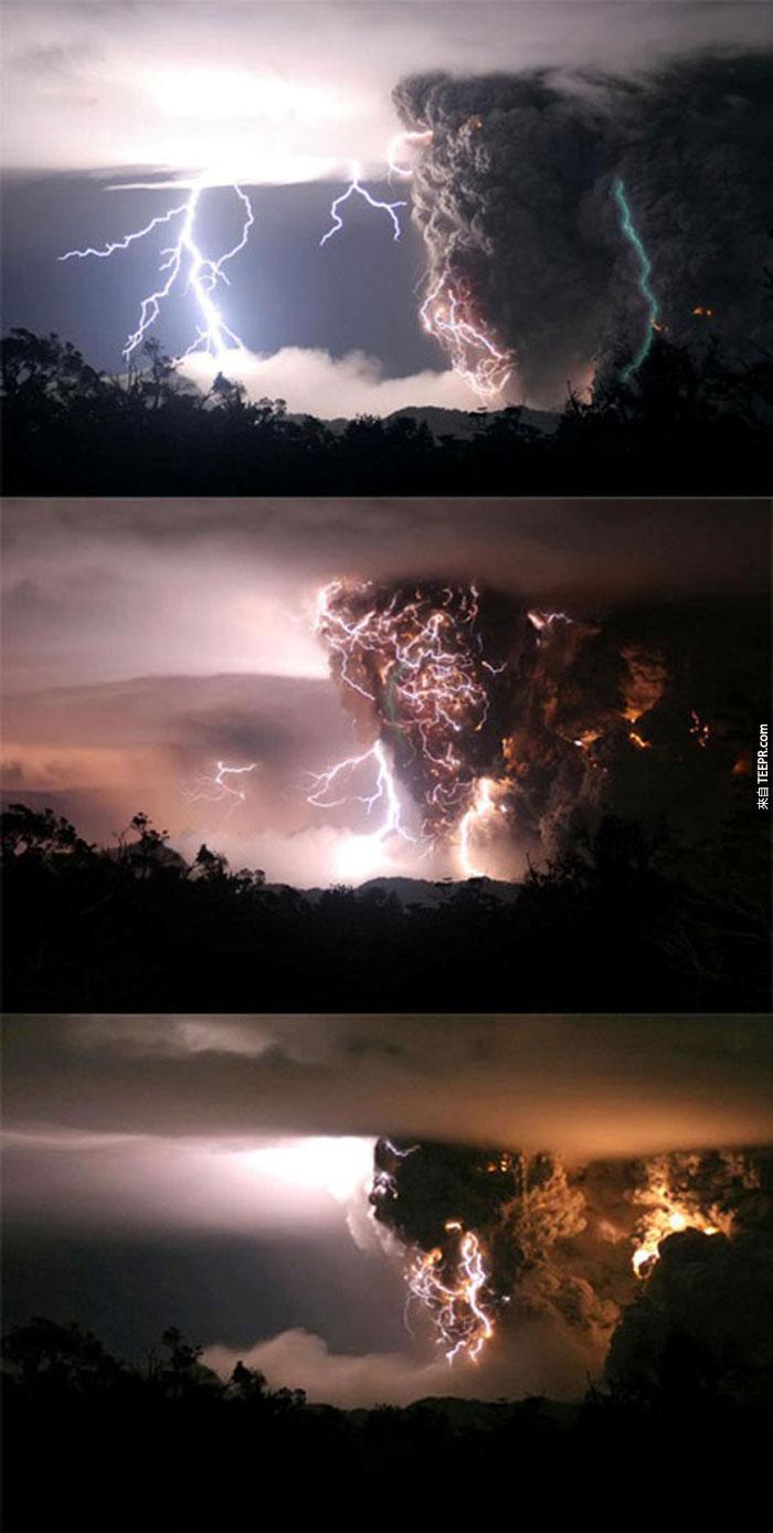 17)期間在半夜風暴火山爆發,2008(智利)