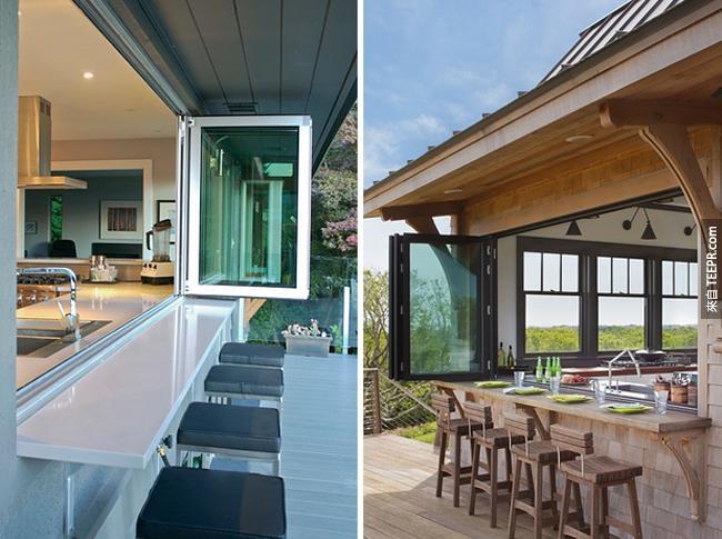 一個可收縮式的窗戶可以變成窗戶或是變成吧台。