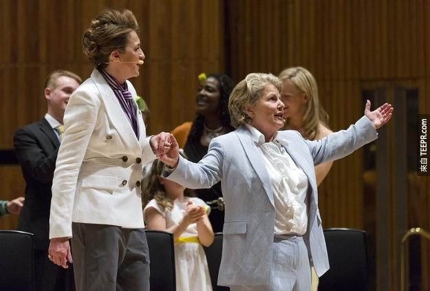 At London's Southbank Centre, a celebration of the day included Sandi Toksvig renewing her vows with her wife Debbie .