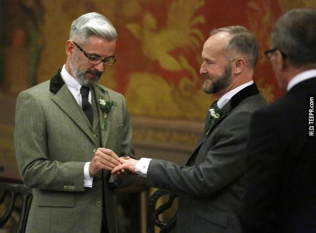 In Brighton, Andrew Wale and Neil Allard also got married shortly after midnight.