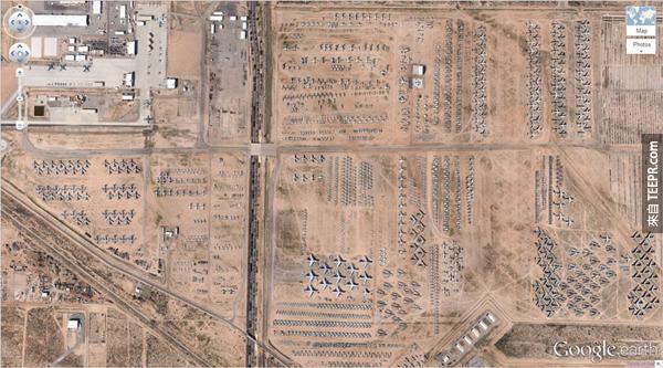 1.) 這個飛機聚骨場 (32 08'59.96″ N, 110 50'09.03″W) 亞利桑那州,圖森