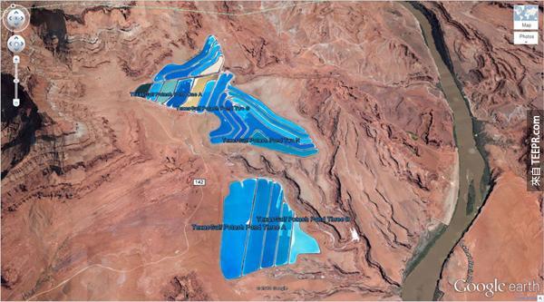16.) 超大型的鉀肥池塘  (38°29'0.16″N 109°40'52.80″W) 摩押,猶他州,美國