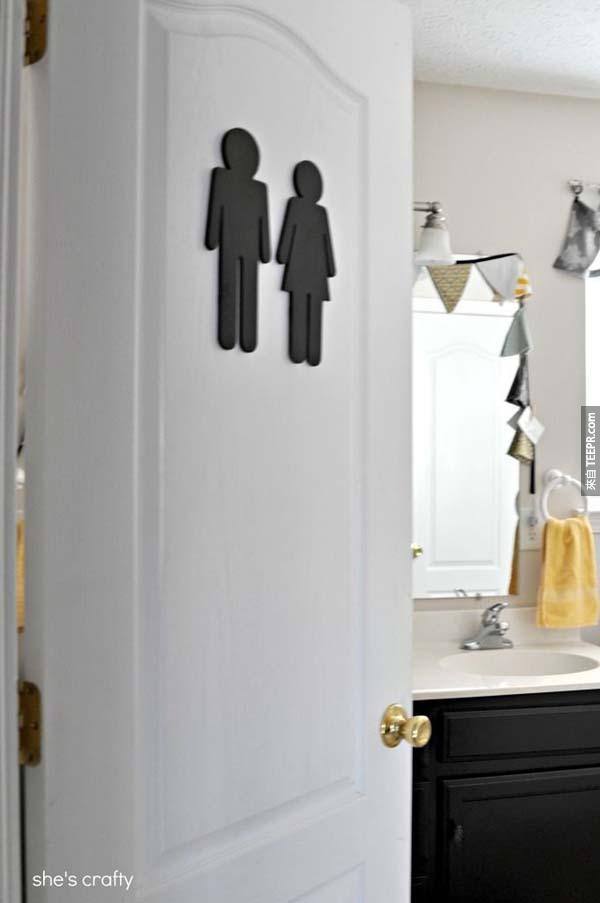 23.) 在廁所上面貼上廁所的標誌,這樣訪客就知道廁所在哪裡了。
