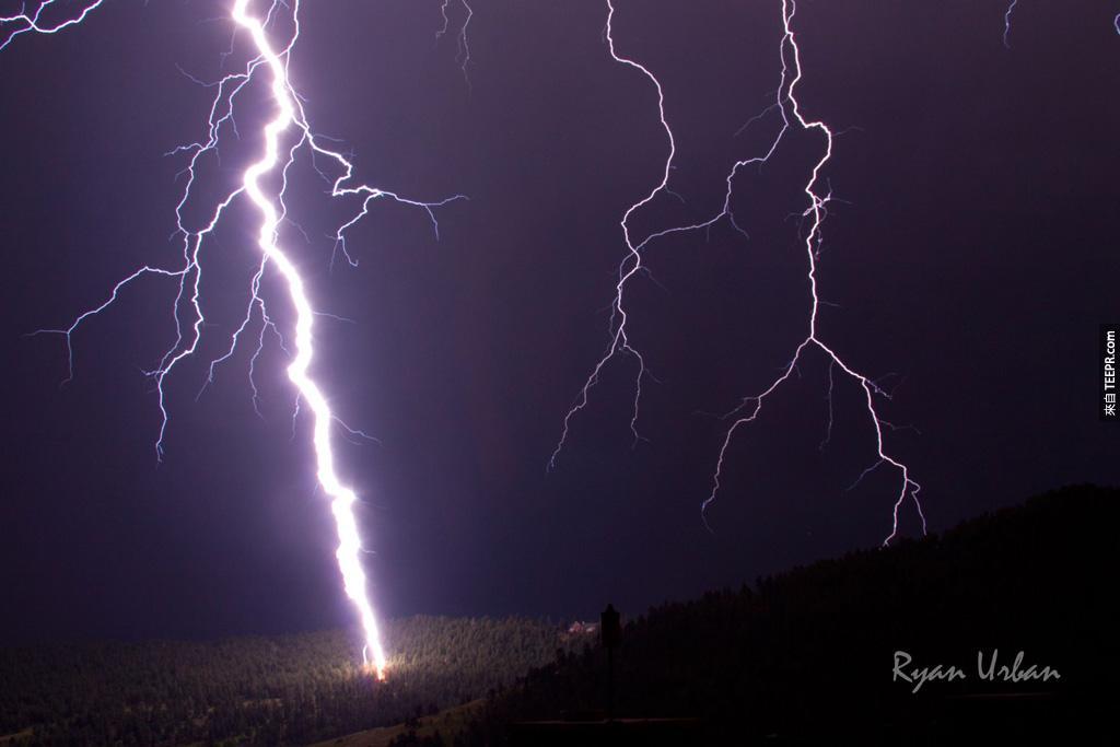 科羅拉多州戈爾登的閃電交加。