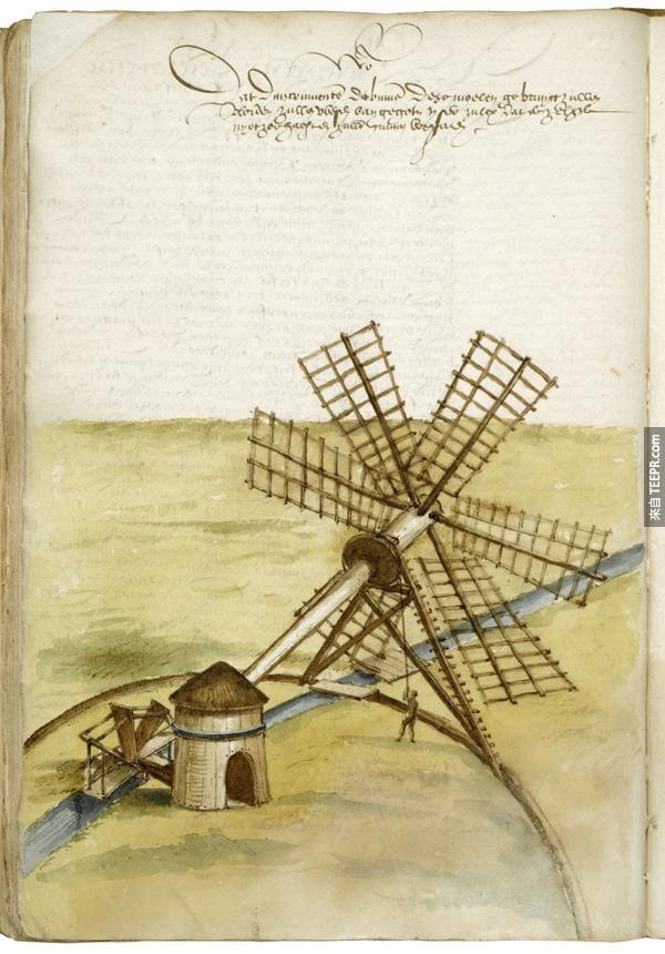 11.) 一個把水排出沼澤地的風車。
