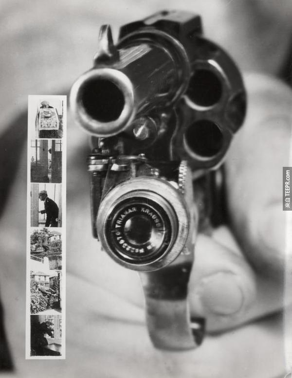 27.) 左輪槍上的照相機。這個是用來做什麼的?市場應該很小吧?