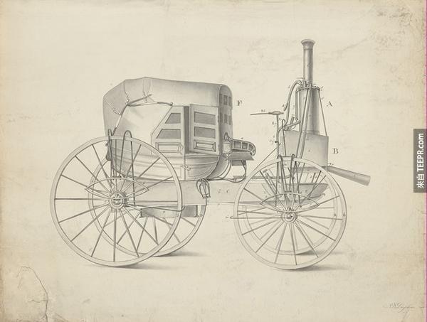 4.) 一台1845年的蒸氣動力汽車