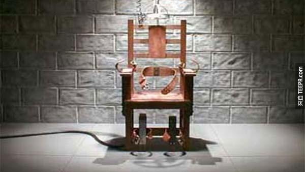 24.) 電椅: 全世界除了中國、北韓、葉門、伊朗還有美國之外都沒有死刑。所以呢,你因此死因機率是 1:58,618。