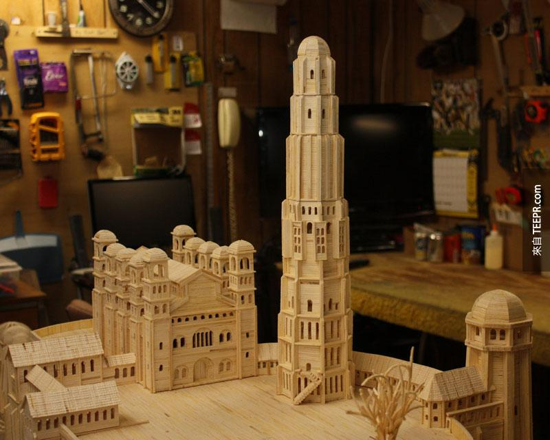 minas tirith made from matchsticks by pat acton matchstick marvels (5)