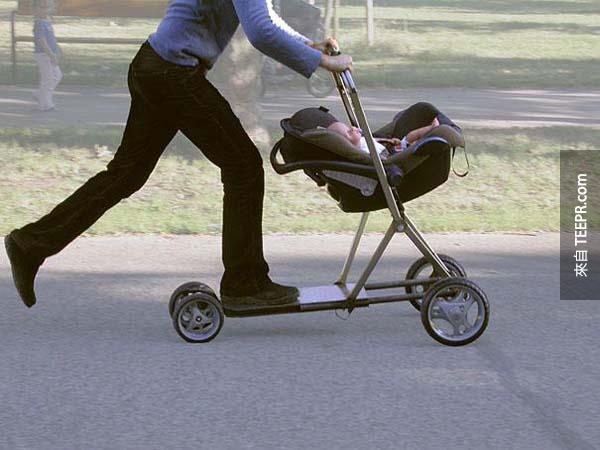 1.) 一個滑板嬰兒車會讓一切都更好玩。