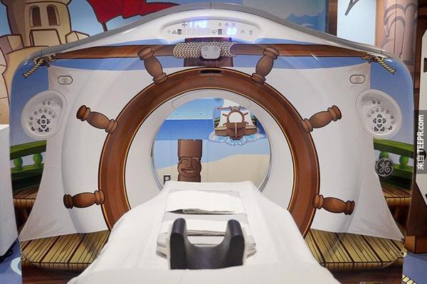 而且他們還把所有的CT掃描機器漆上了可愛的主題!