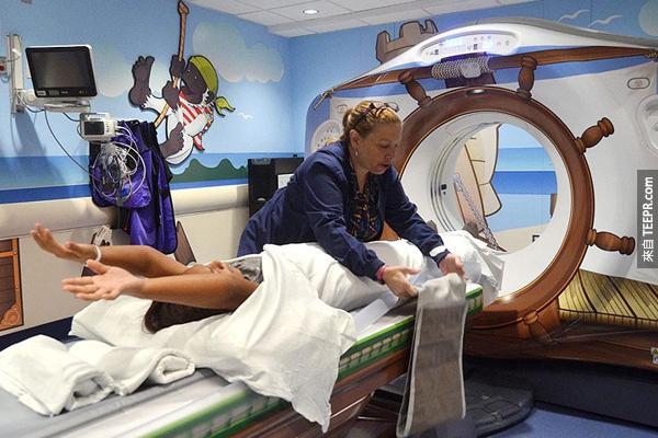 連大人在這種環境下接受CT掃描也很開心呢。