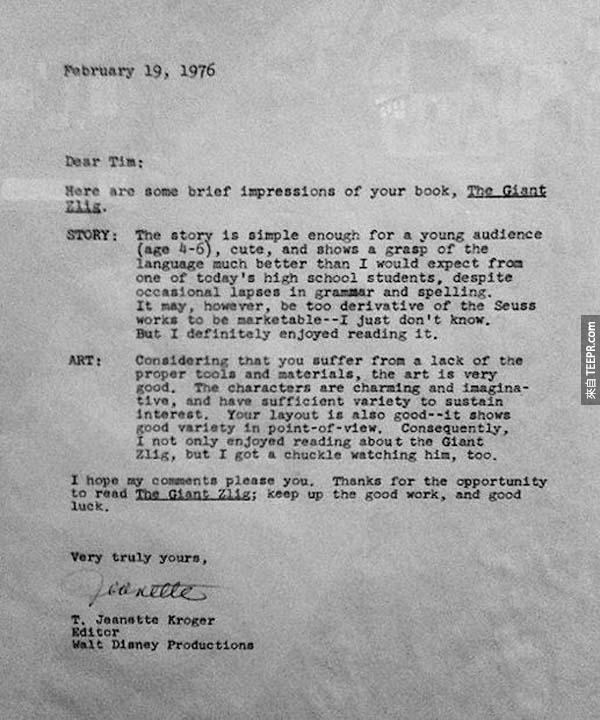 """6.) 蒂姆·伯頓 (Tim Burton): 1976年的時候,當他還是高中生的時候,他把他的兒童書作品 """"The Giant Zlig"""" 寄給迪斯奈出版社,但是被拒絕了。後來呢,迪斯奈請他當他們的動畫師學徒。現在,我們所知道的Tim Burton 已經是全世界其中最知名的好萊塢導演。"""
