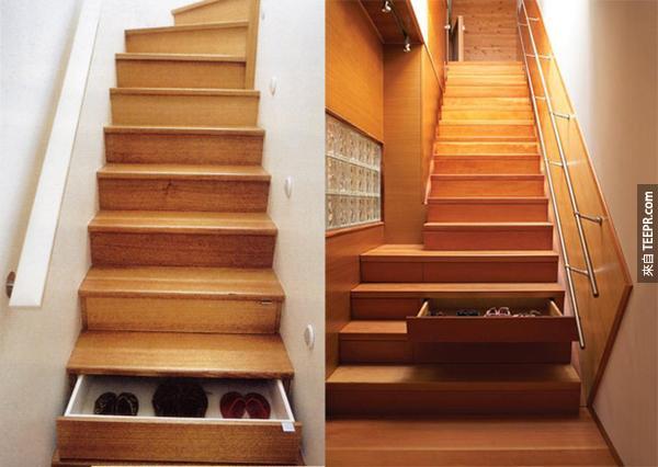 12.) 普通的階梯太無聊了。這種收納階梯才是王道!