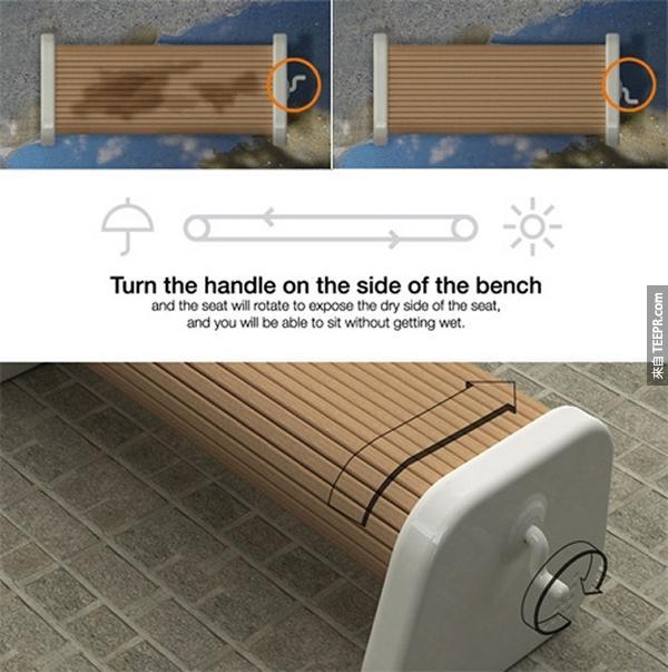 17.) 做在一個濕的戶外長椅很不舒服吧?把座位翻過來就可以了!