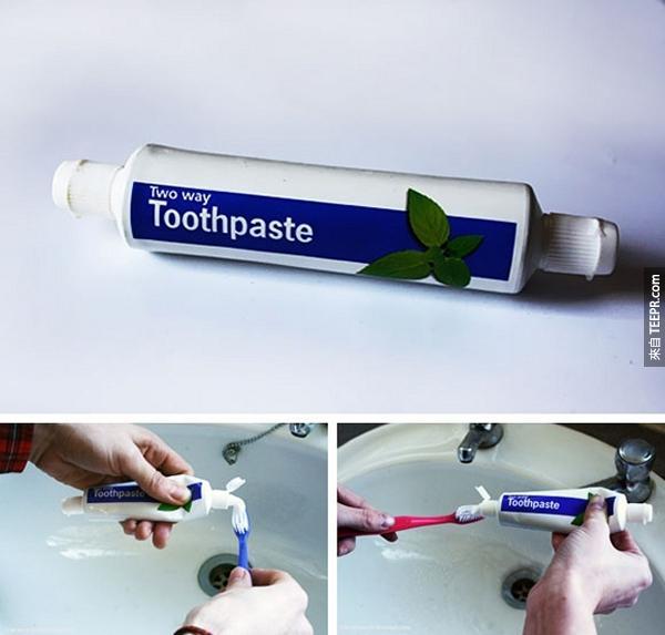 20.) 再也不需要浪費寶貴生命擠牙膏。這個牙膏兩邊都有開口。好天才!