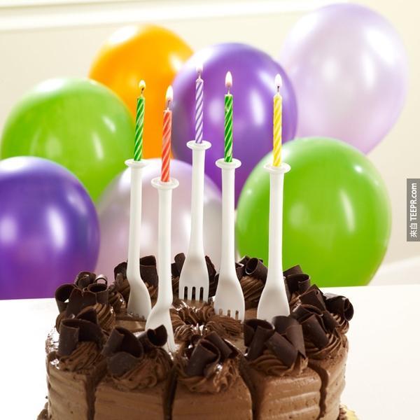 8.) 以後不用買蠟燭和叉子。這種二合一好威。