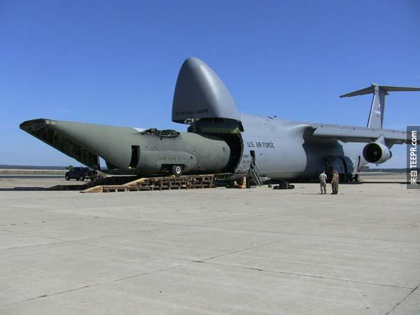 And if you want to get meta, it can also carry a C-130 transport aircraft.
