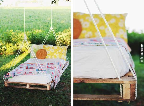 17. 把木托盘变成一张吊床。