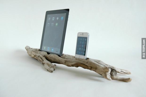 28. 把浮木做成iPhone/iPad底座。這個我超愛!