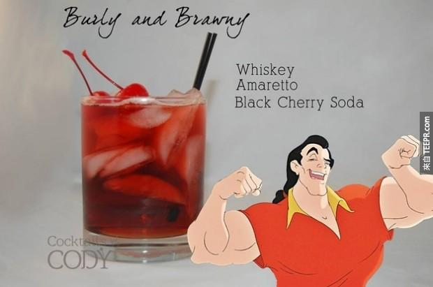 魁梧壯漢: 威士忌、義大利莎羅娜杏仁香甜酒、黑櫻桃汽水