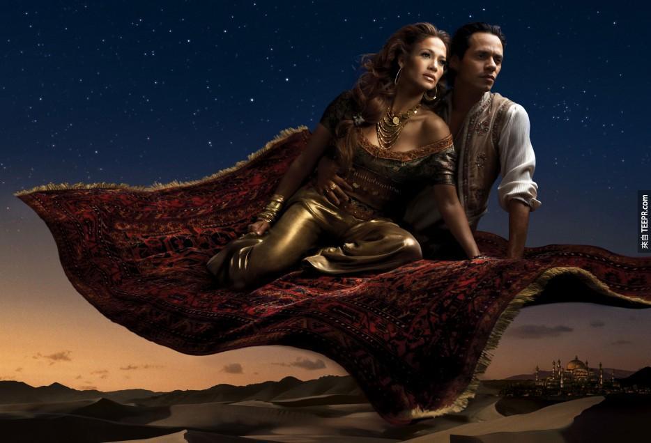 珍妮弗·洛佩茲 (Jennifer Lopez) 為茉莉和馬克·安東尼 (Marc Anthony)為阿拉丁 -《阿拉丁》