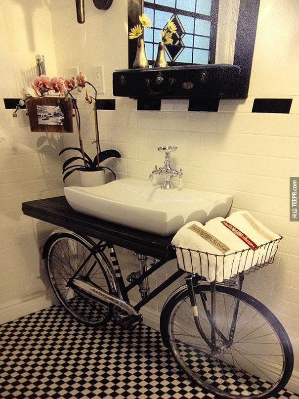 6. 旧的脚踏车变成洗手台。
