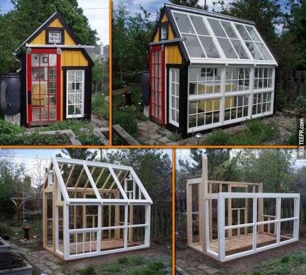 13. 旧窗户变成绿屋。