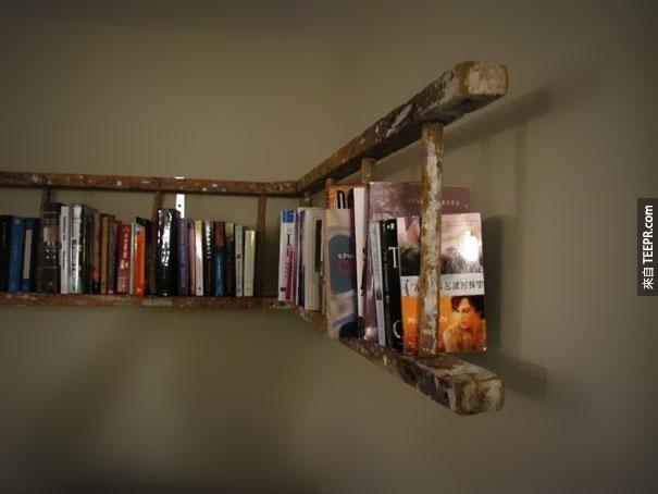 7. 旧的梯子变成书架。