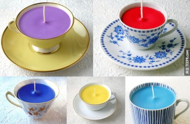 22. 把茶杯變成蠟燭容器。