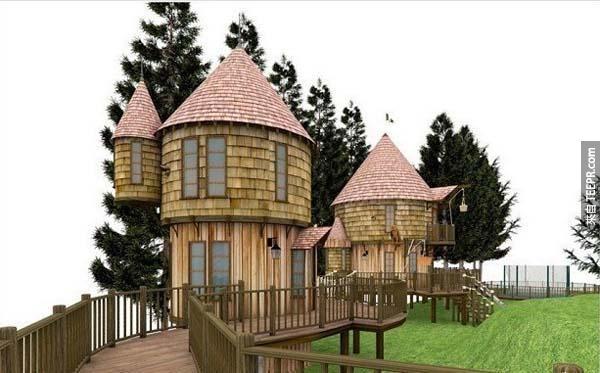 24.) 這是哈利波特的作者J·K·羅琳為她的孩子做的魔法樹屋。
