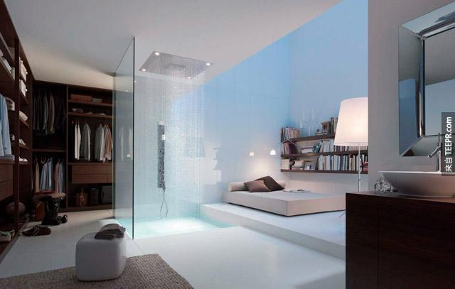 雖然水會弄得到處都是,但是有一點是我們可以確定的,這個房間裡一定很保濕。