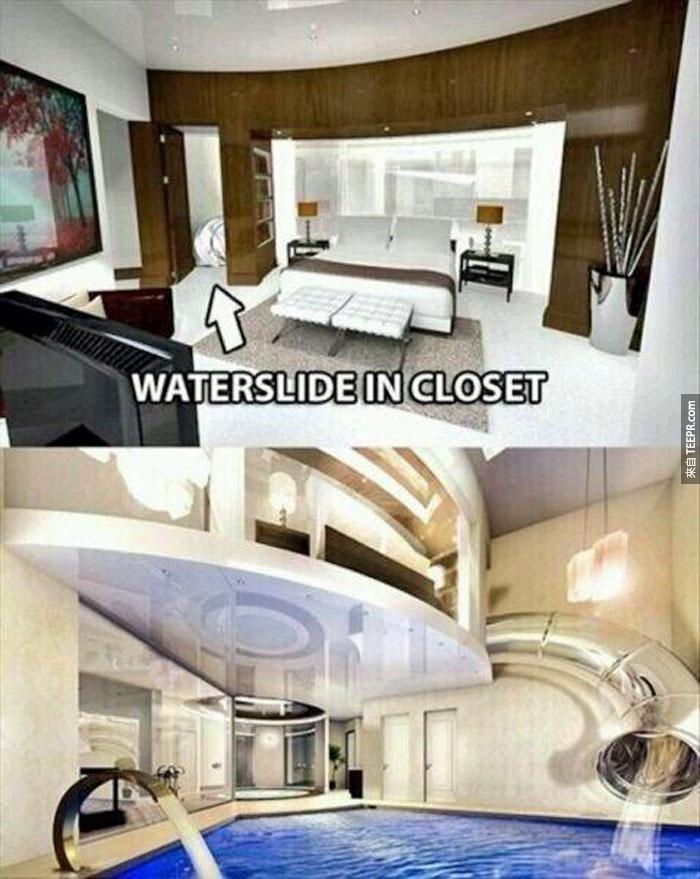23) 這也是!(從房間連到樓下游泳池的水溜滑梯)。