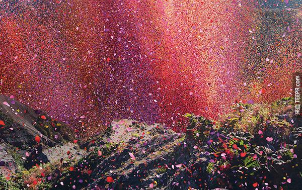 然後暴發出的花瓣就散落一整個村莊。