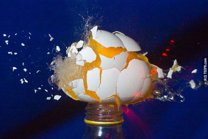 4) 用子彈射一顆雞蛋。